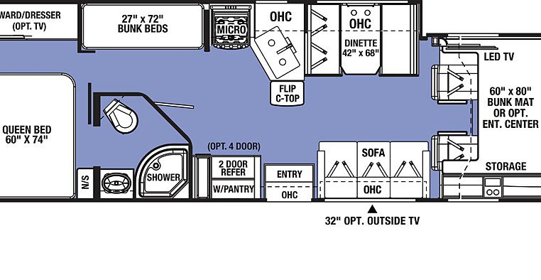2019 sunseeker 3270S floorplan